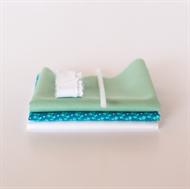 Afbeelding van Setje voor extra poppenjurk - Levendig Blauw - Pastel Groen