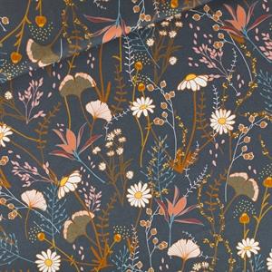 Picture of Flower Field - M - Cotton Gabardine Twill - Night Blue